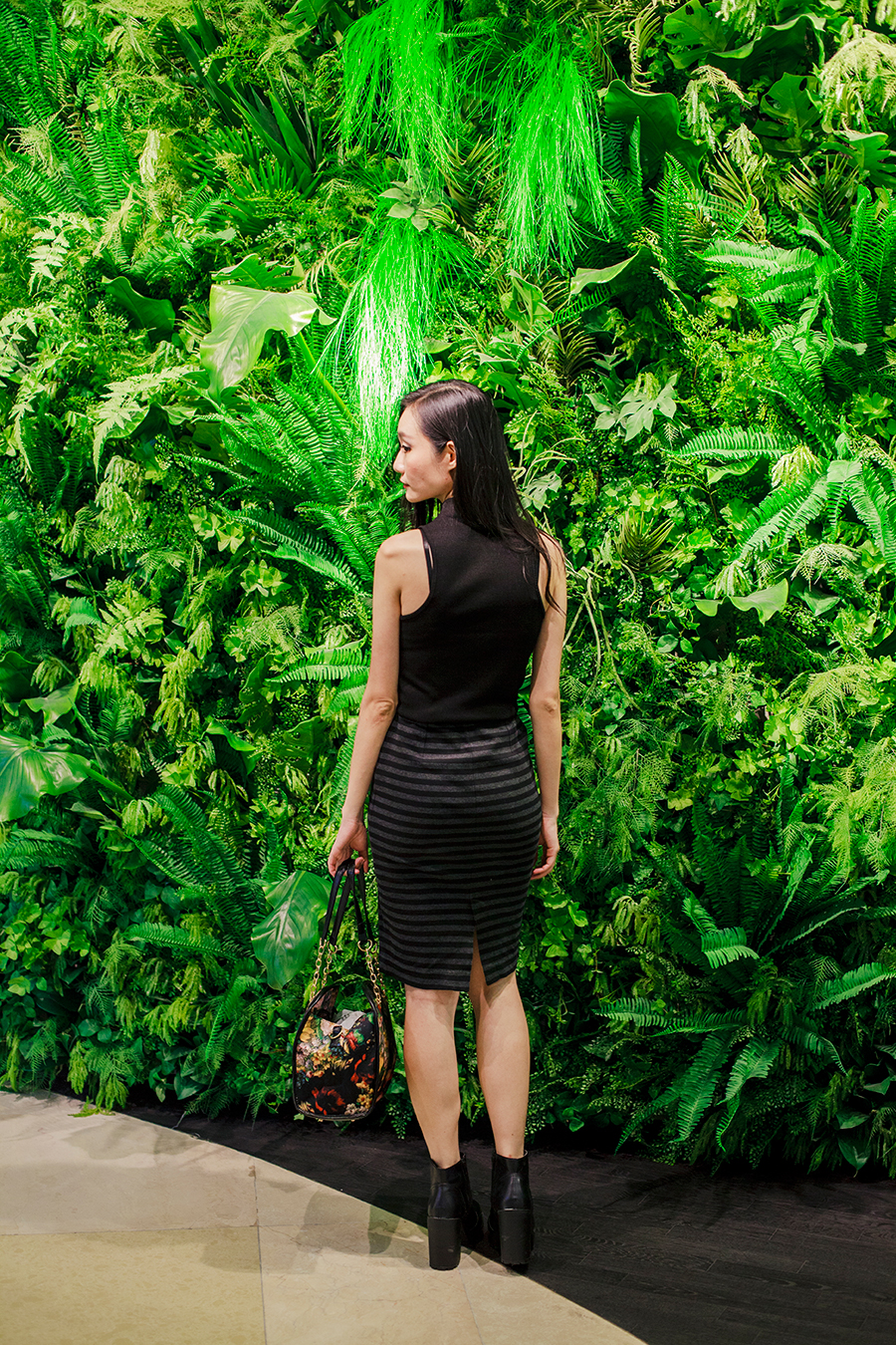 Inglot x Zalora makeover outfit: Topshop high collar ribbed top, Uniqlo striped pencil skirt, Dressin floral bowling bag, Rubi black platform booties.