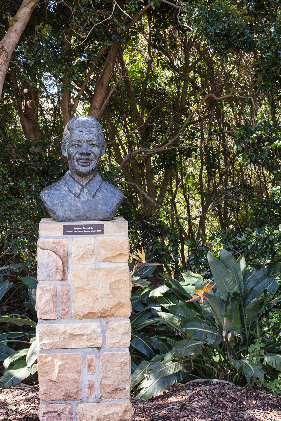 Nelson Mandela bust at Kirstenbosch, South Africa.