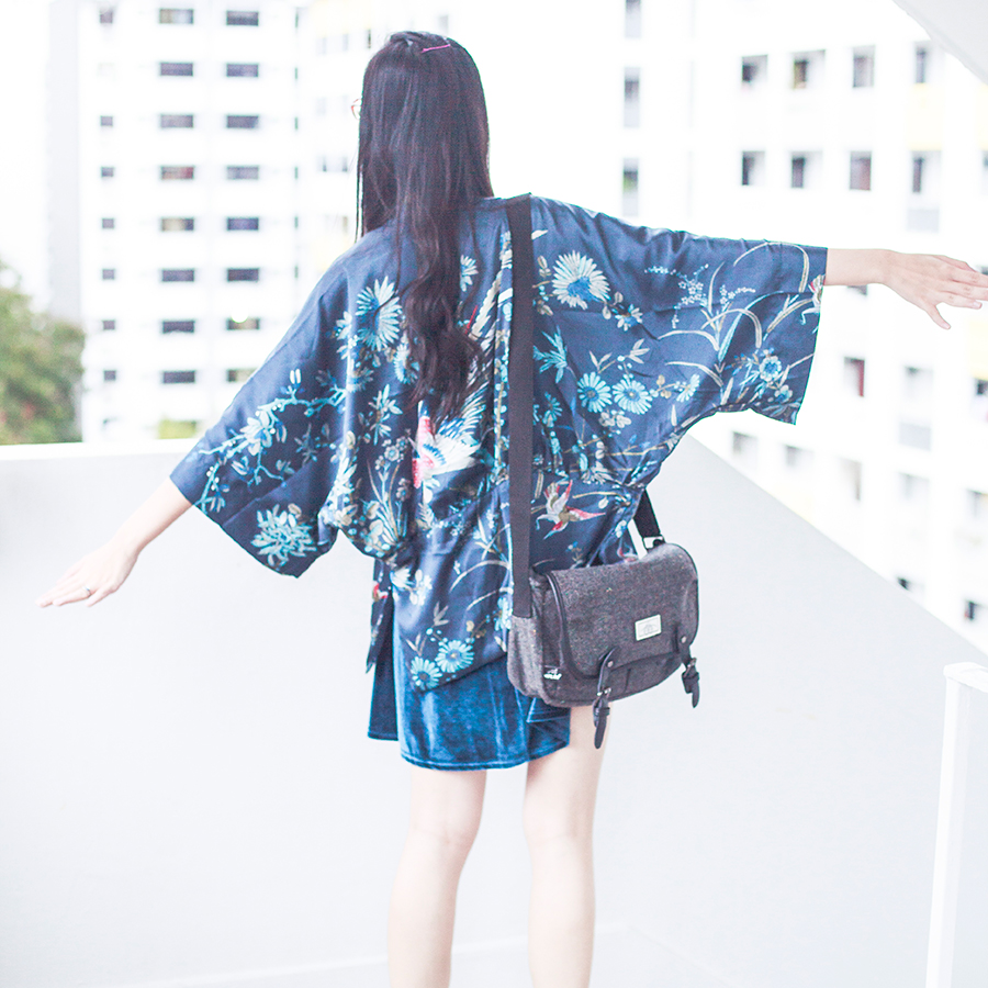 Dressin blue phoenix kimono cardigan, Cotton On velvet dress, Bugis Street grey satchel.