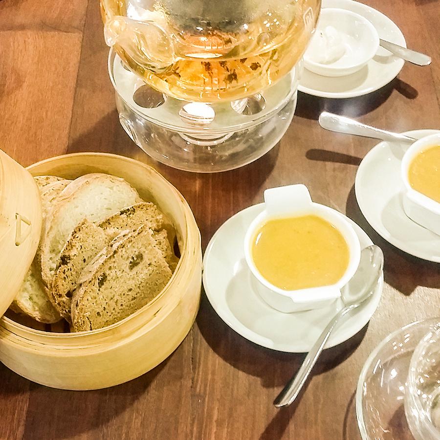 Starters and pot of Tie Guan Yin tea at O'ways Teacafe, Cape Town.