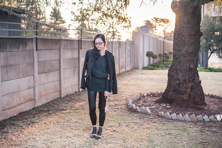 Backlit outfit photo in South African winter, Johannesburg.