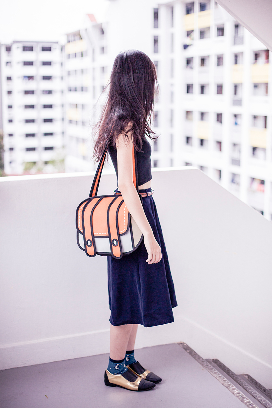 2D satchel bag from Taobao, black & gold pointed flats from Something Borrowed via Zalora.