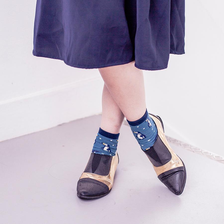 Blue penguin tabi socks, black & gold pointed flats from Something Borrowed via Zalora.