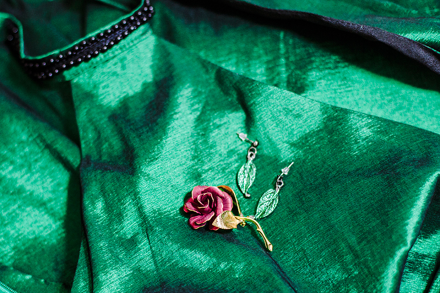 Green satin backless dress from CNDirect, vintage gold rose brooch, Dressin green leaf earrings.