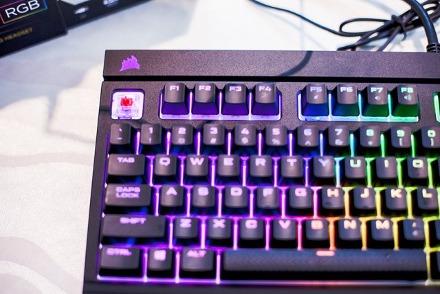 Corsair rainbow keyboard with easily-detachable pads at the Lazada Singapore's Blogger Bazaar.