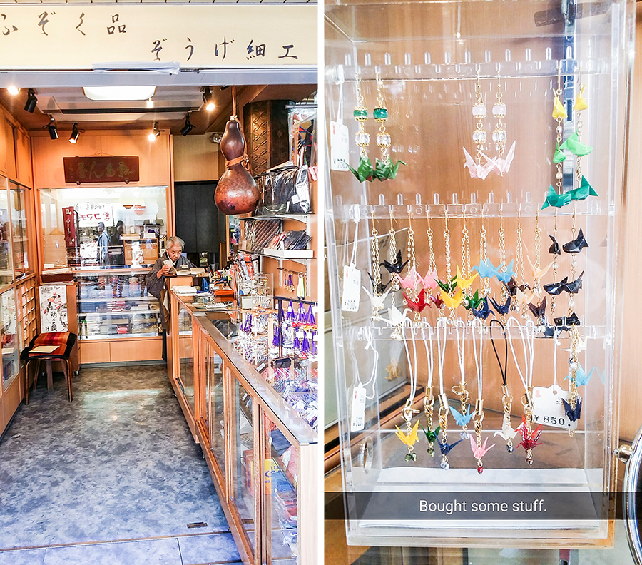 Origami crane earrings and keychains in a souvenir shop in Asakusa, Tokyo, Japan.