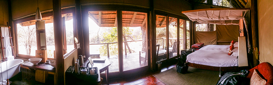 Interior of room at Rhino Post Safari Lodge, Kruger National Park, South Africa.