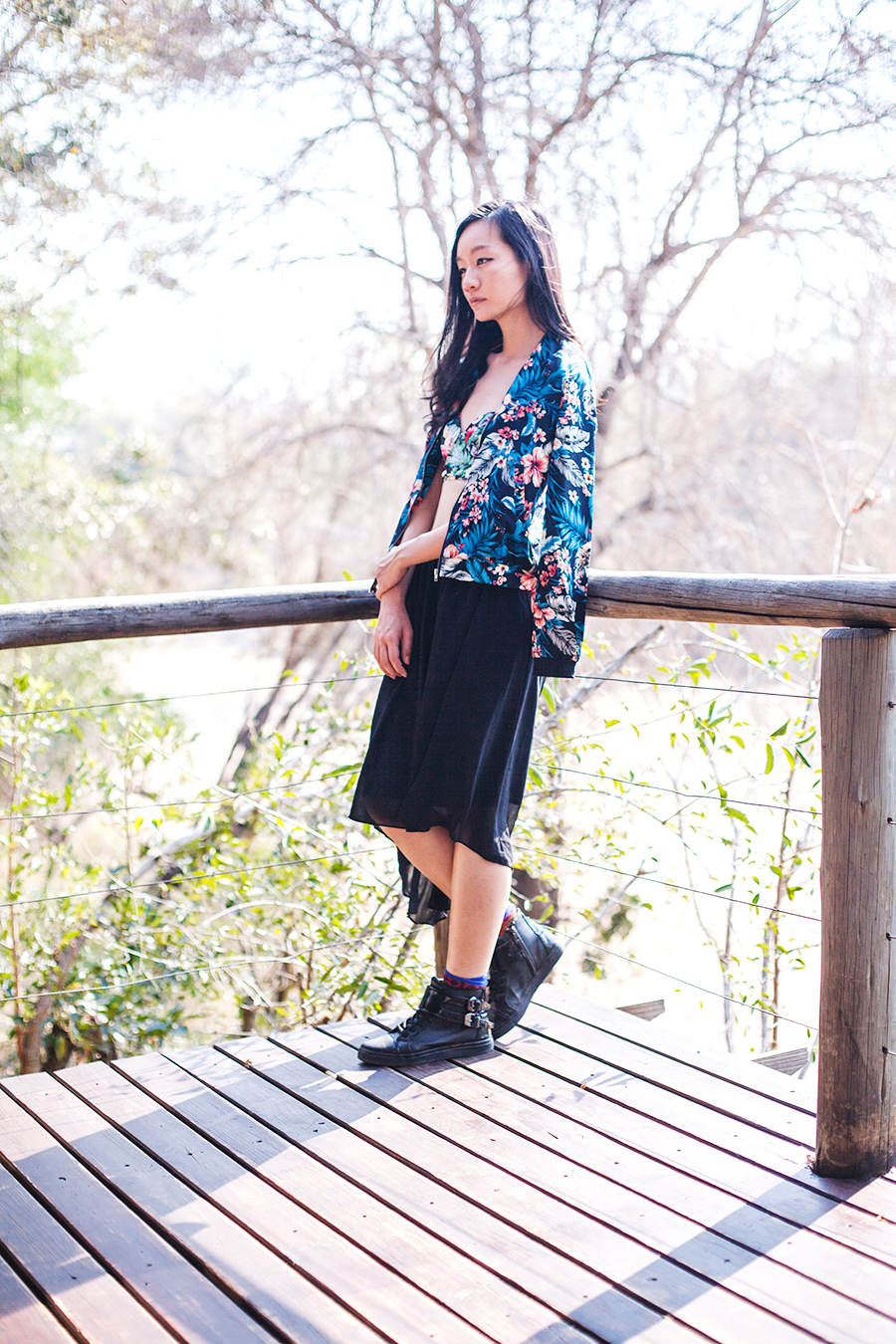 Floral and black outfit for safari, South Africa.