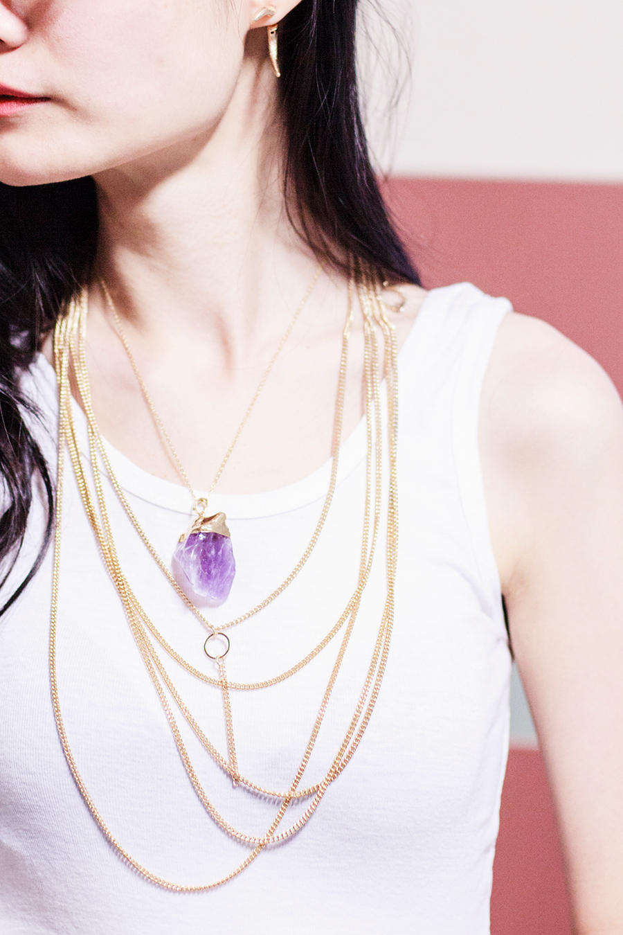 Dealsale amethyst necklace, Topshop gold bodychain as necklace, WholesaleBuying white tank crop top.