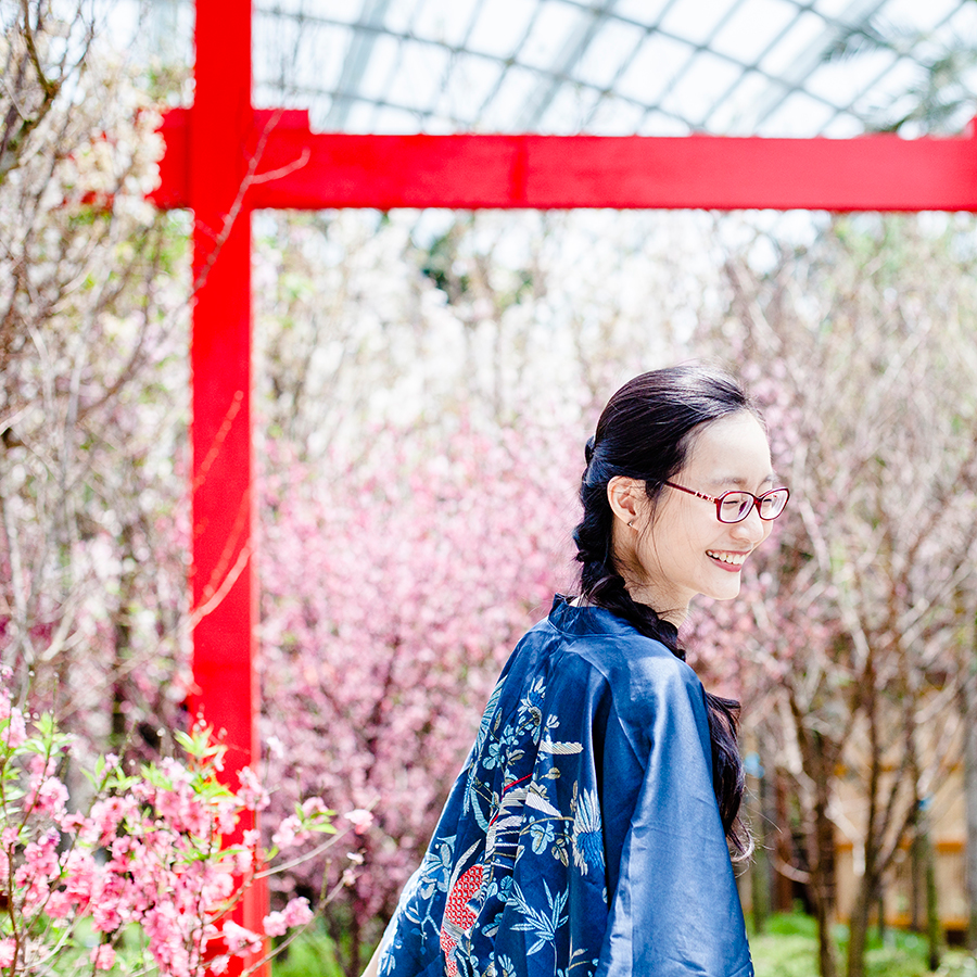 Phoenix kimono at a Torii among cherry blossoms in the Flower Dome at Gardens by the Bay, Singapore.