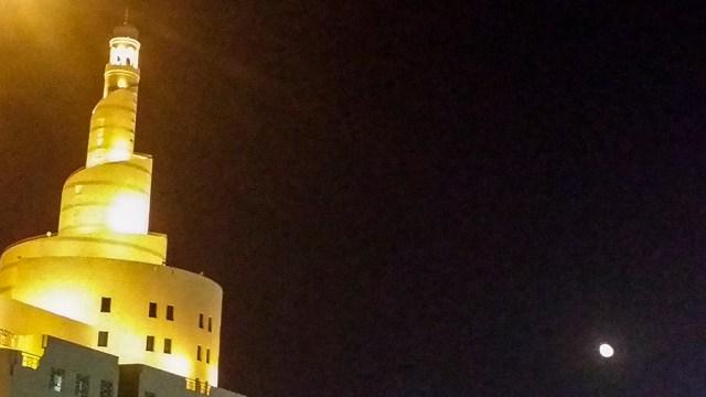 Moon and building at Souq Waqif (سوق واقف), Doha, Qatar.