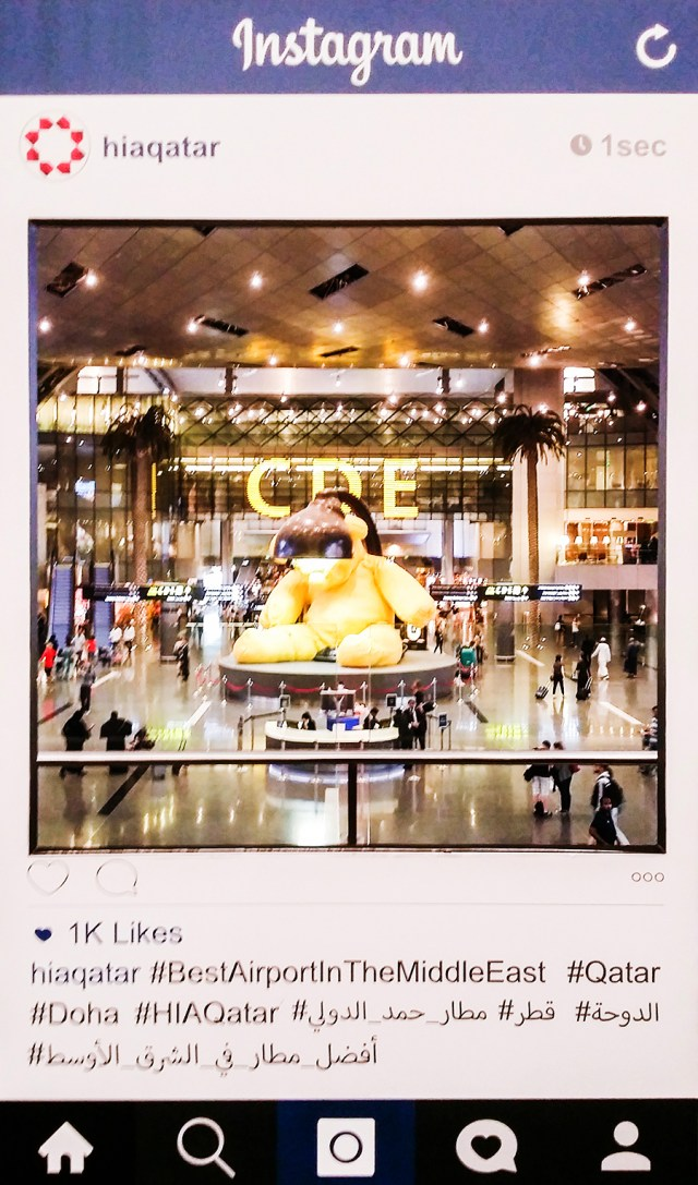 Instagram cutout at the foyer of Hamad International Airpot in Doha, Qatar.