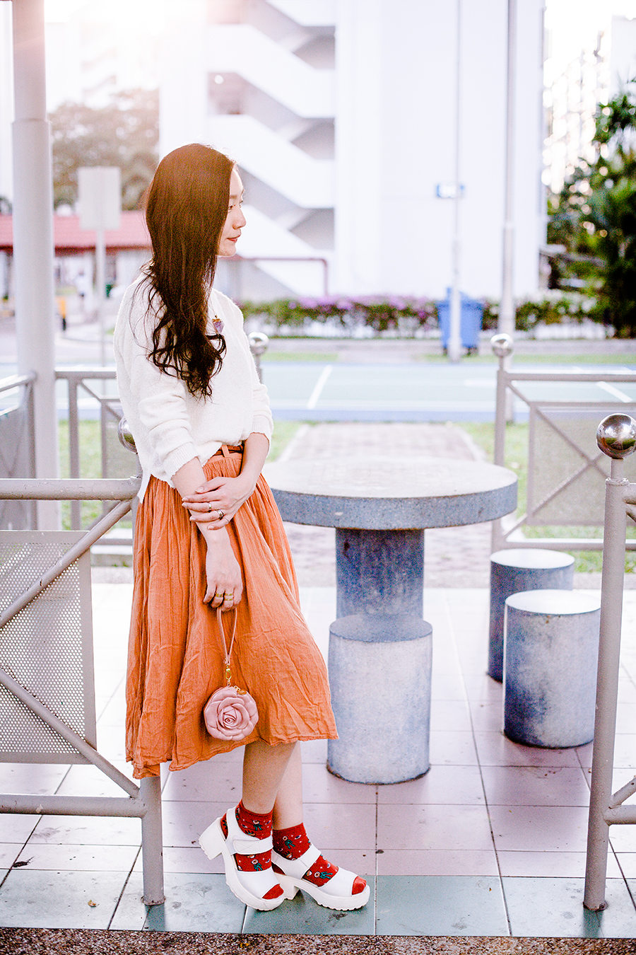 Sunset pastel outfit.