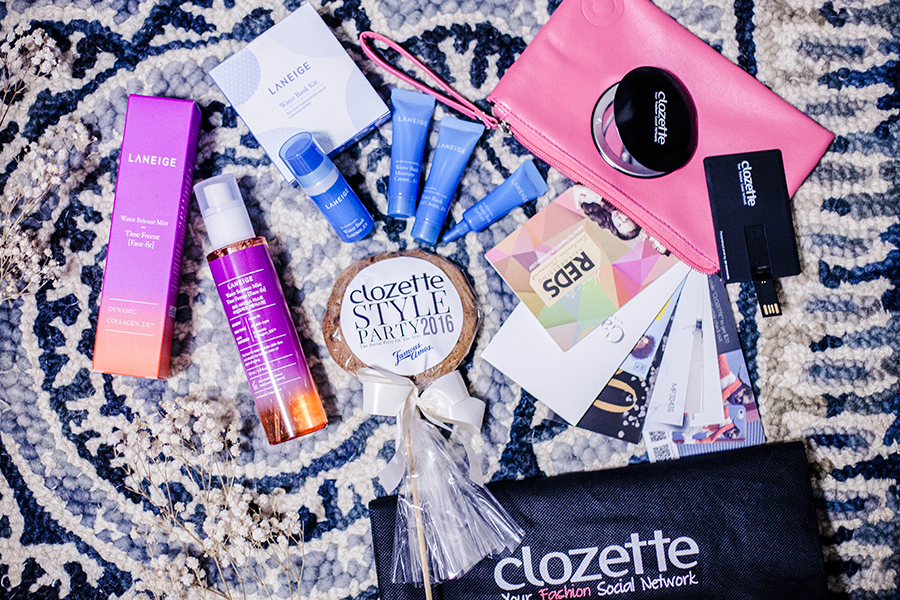 Flatlay of VIP goodies from Laneige and Clozette at Clozette Style Party 2016 in Suntec City. #ClozetteStyleParty
