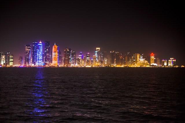 Cityline at night in Doha, Qatar.