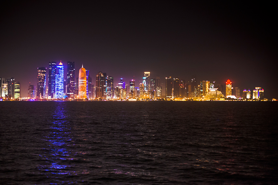 Cityline at night in Doha, Qatar.