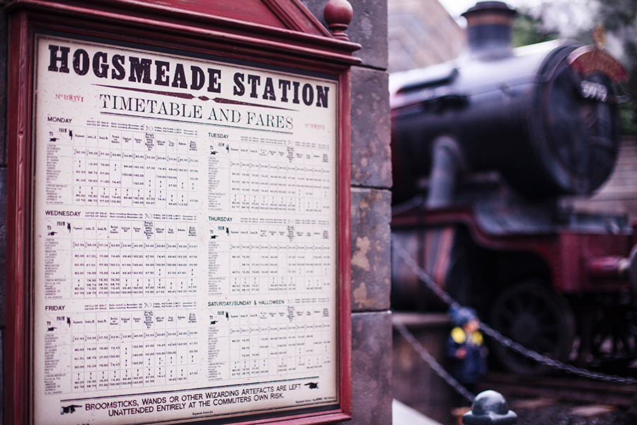 Hogsmeade Station timetable at The Wizarding World of Harry Potter at Universal Studios Japan, Osaka.