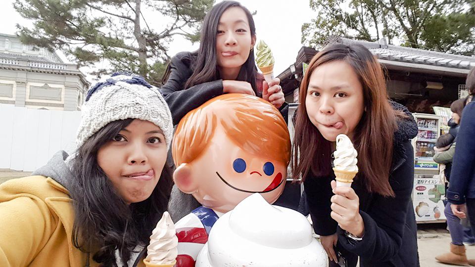 Wefie with soft serve cream cones at Nara Park, Japan. Photo by Shasha.