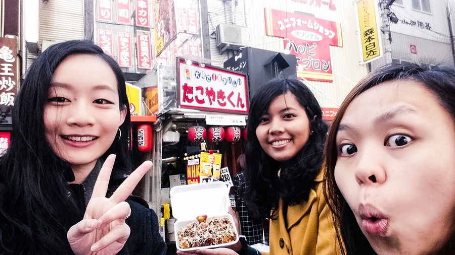 Wefie in front of Takoyaki-kun shop in Osaka, Japan.