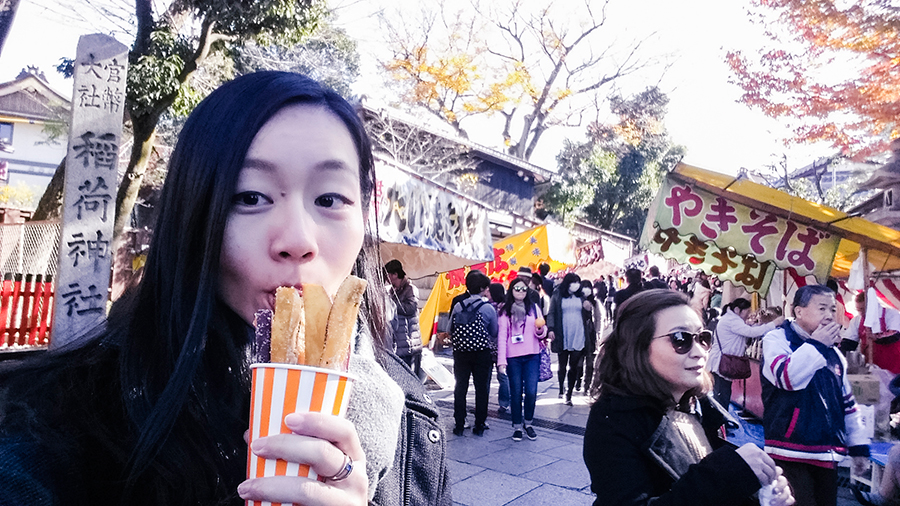 Selfie with sweet potato at Fushimi Inari, Kyoto Japan.