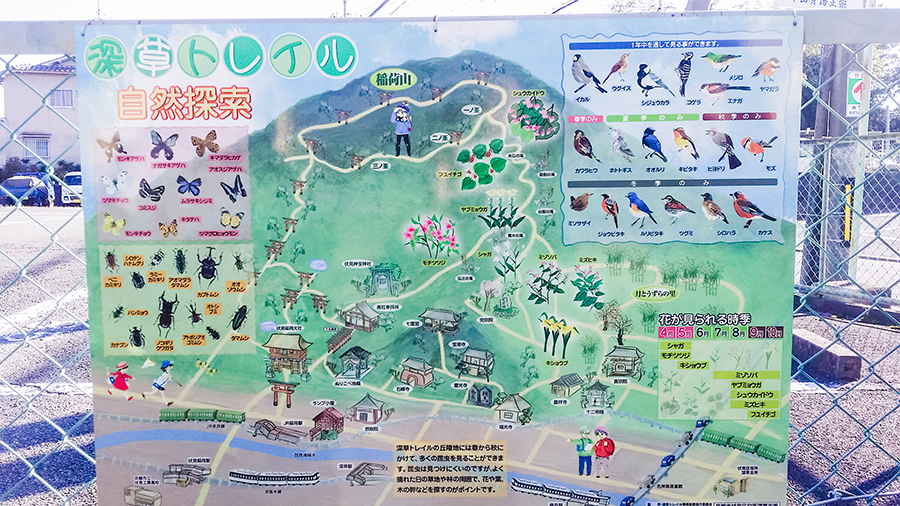 Nature trail map at Fushimi Inari, Kyoto Japan.