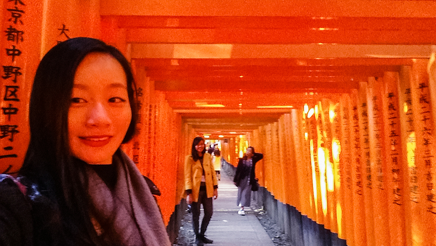 Wefie in torii at Fushimi Inari, Kyoto Japan.