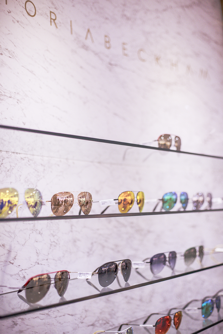 Victoria Beckham sunglasses display at the Her World x Optic Butler Event, Paragon, Singapore.
