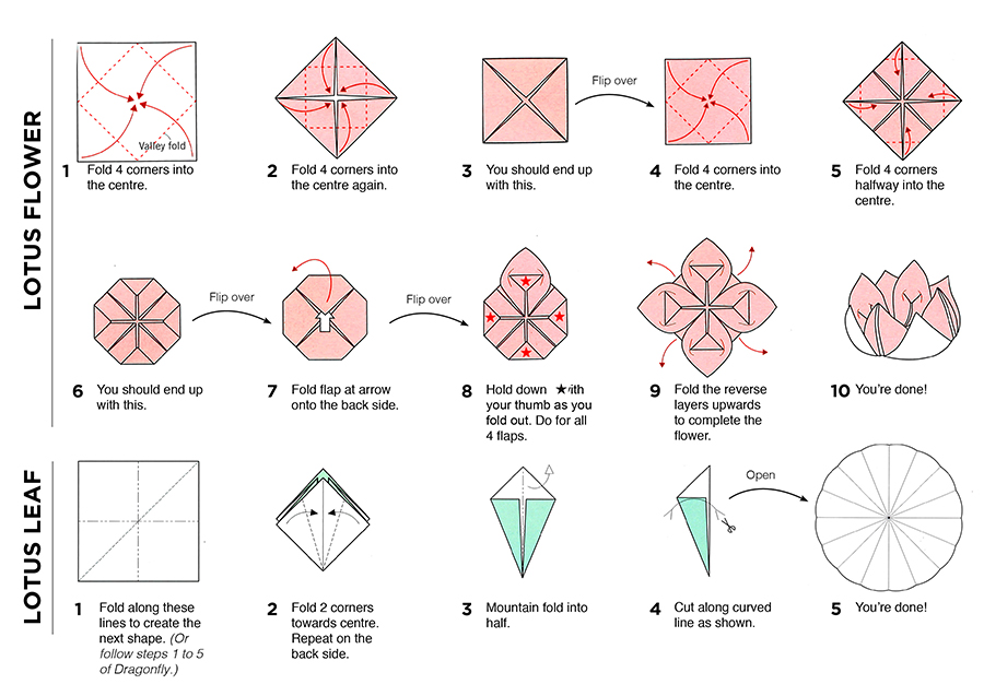 Origami Lotus Flower And Pad Instructions