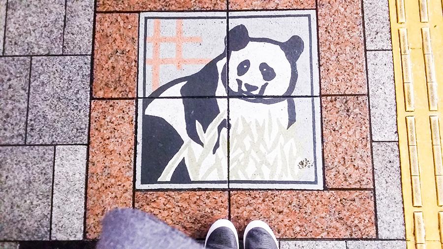 Panda tiled sidewalk in Tokyo, Japan.