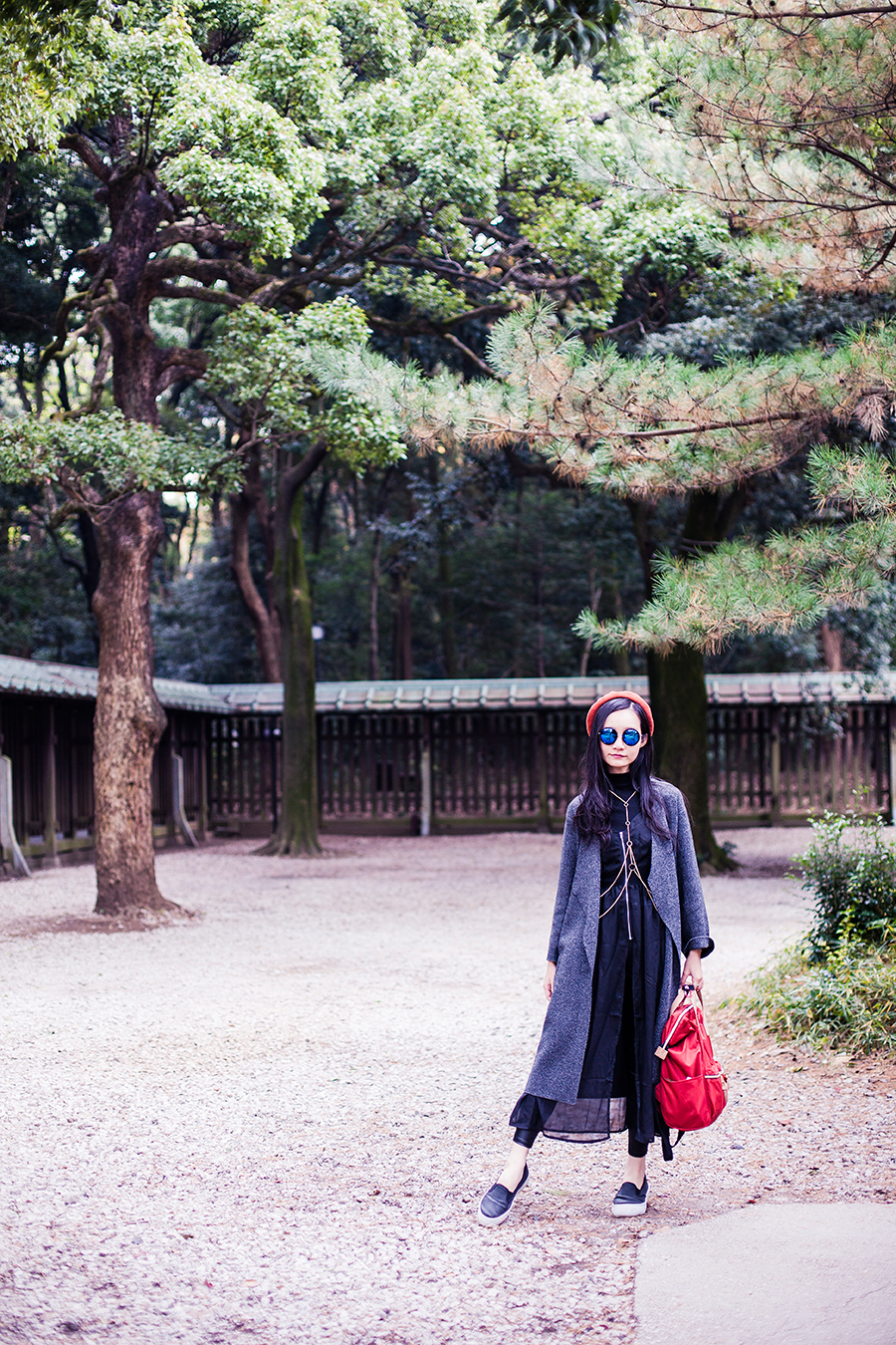 Winter outfit at Meiji Shrine in Tokyo, Japan.