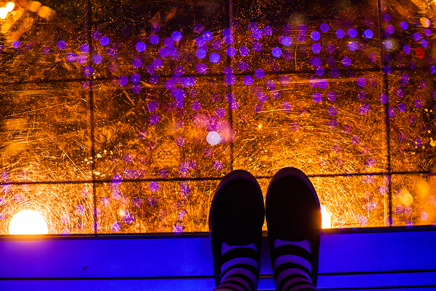 View of the top at the observatory at One Piece Tower, Tokyo Tower Japan.