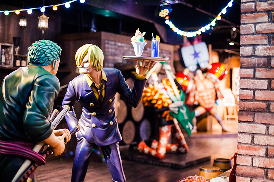 Sanji and Zoro going at it at One Piece Tower, Tokyo Tower Japan.