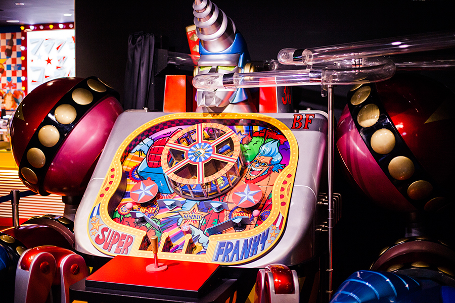 Franky pinball game at One Piece Tower, Tokyo Tower Japan.