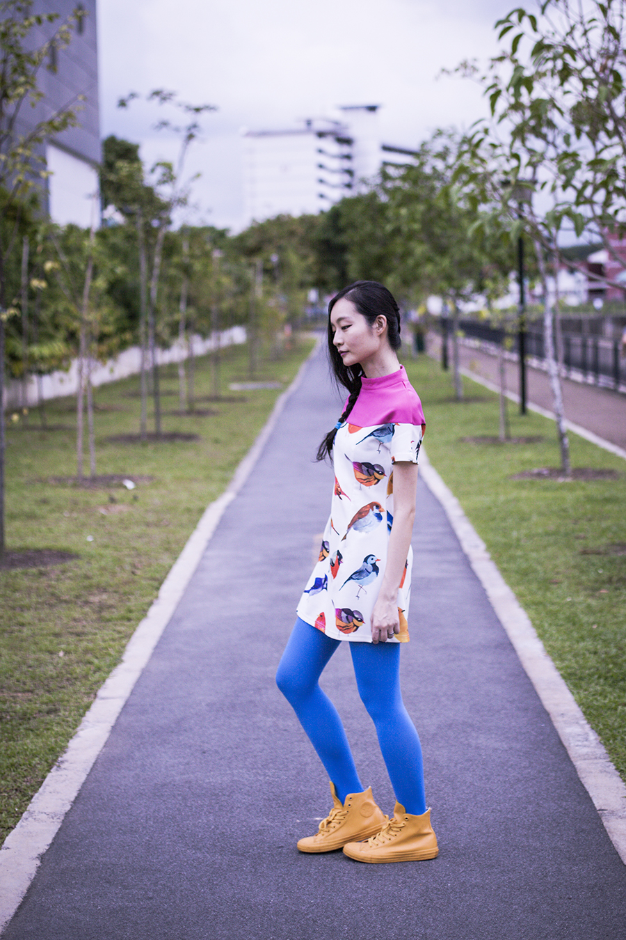 ASOS bird dress, We Love Colors blue tights, Converse yellow rubber chuck taylor sneakers.