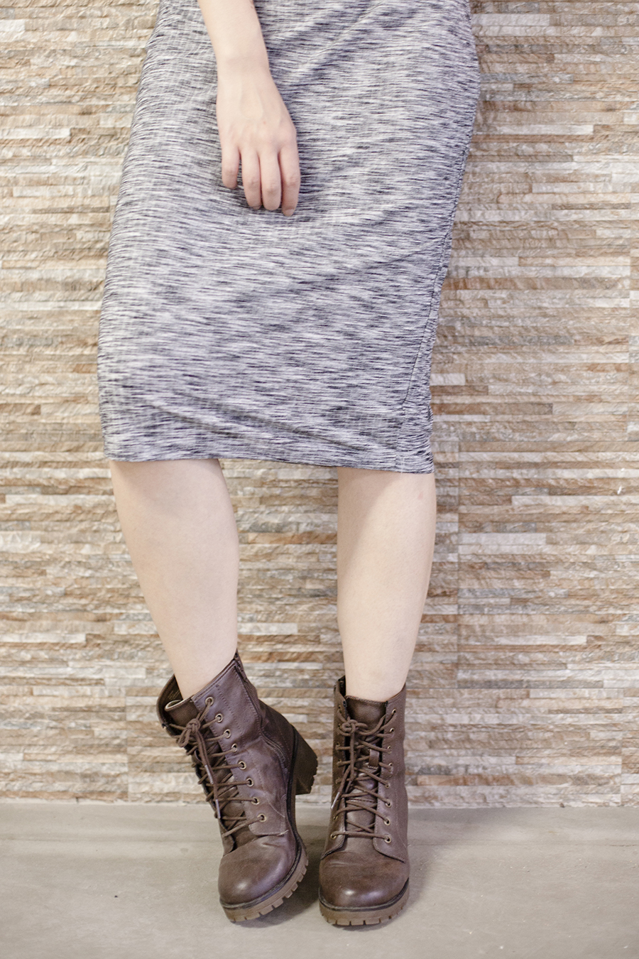 Cotton On heather grey bodycon midi dress, Steve Madden boots.