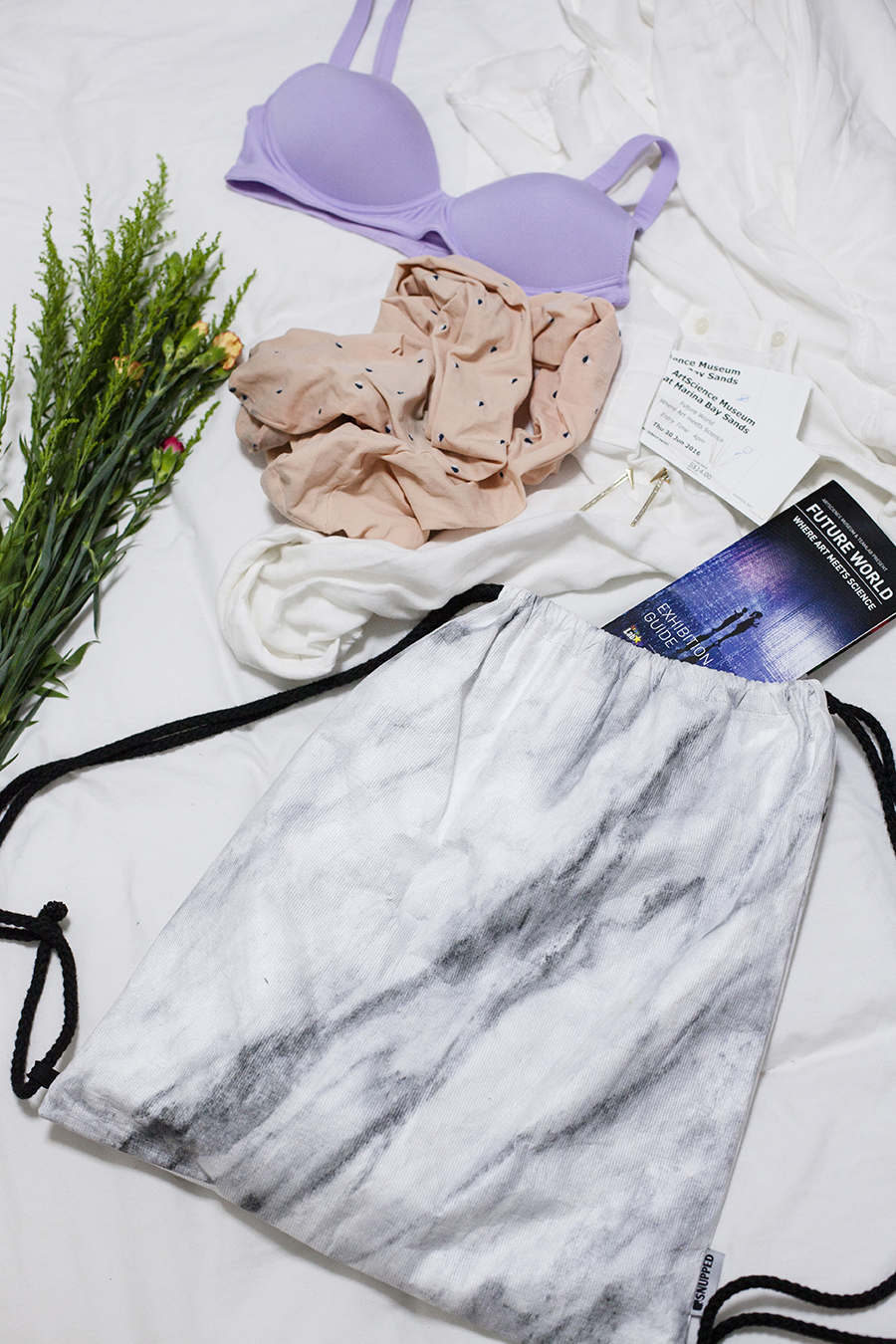 Lilac Purple Wireless Beauty Light bra, Sunmill heart print tights, Future World brochure, Snupped marble print drawstring bag .