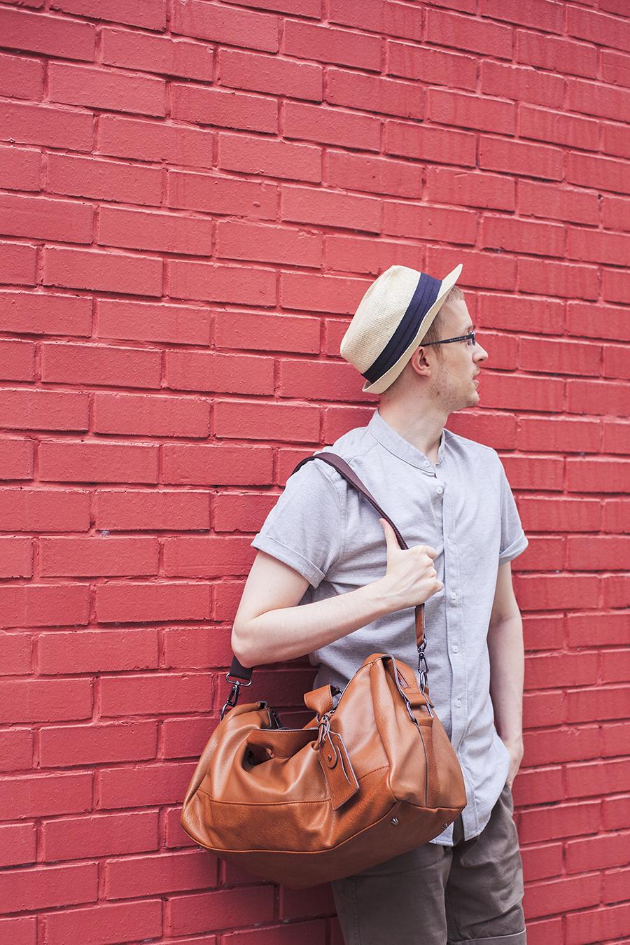 ThisGuyAh outfit: Zalora mandarin collar polo shirt, The Academy Branch shorts, ALDO duffle bag.