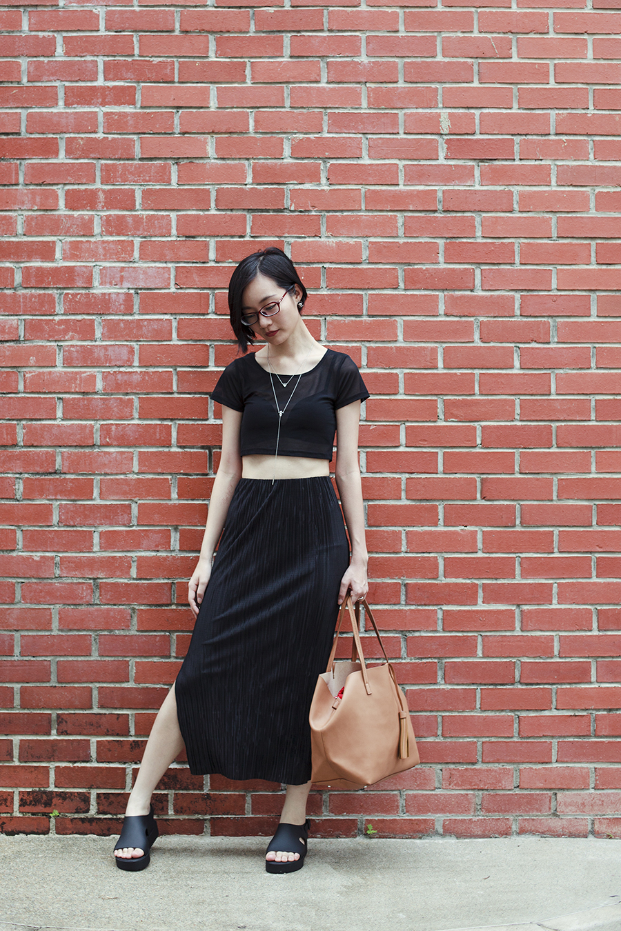Brick wall ootd: ALDO Cocia Necklace, WholesaleBuying mesh top, Uniqlo bra, Topshop Plisse Ankle Grazer Skirt, Melissa Hotness Platform Sandals, Mango Shopper Bag, Firmoo red glasses.