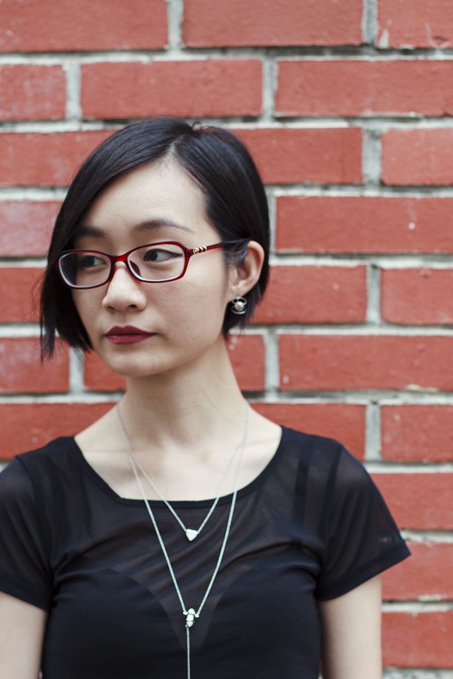 Brick wall ootd: ALDO Cocia Necklace, WholesaleBuying mesh top, Uniqlo bra, Firmoo red glasses.
