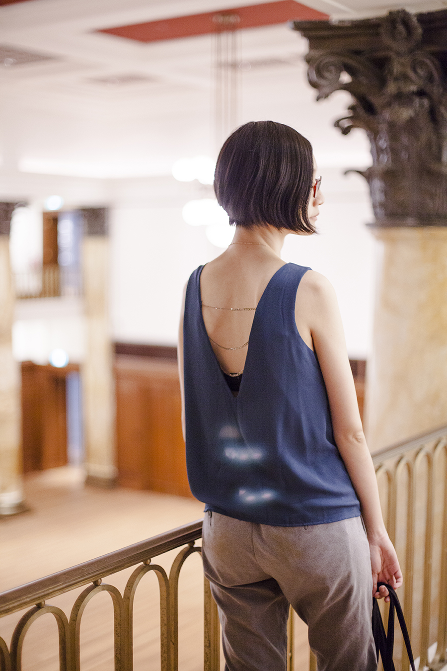 National Gallery Singapore: zalora chain back teal top.