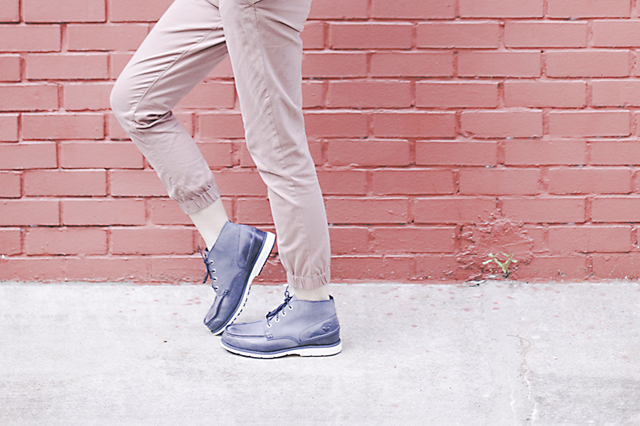 Cotton On dusty pink jogger pants, Timberland Men's Brewstah Chukka Boots in blue.