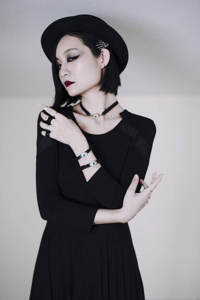 Teenage Angst Halloween Outfit: Dresslily black skull dress, Dresslily eye bracelets necklace, Dresslily rings.