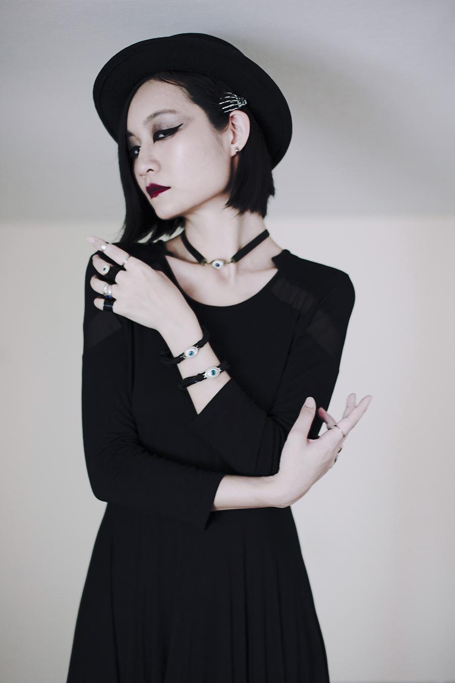 Teenage Angst Halloween Outfit: Dresslily black skull dress, Dresslily eye bracelets necklace, Dresslily rings.
