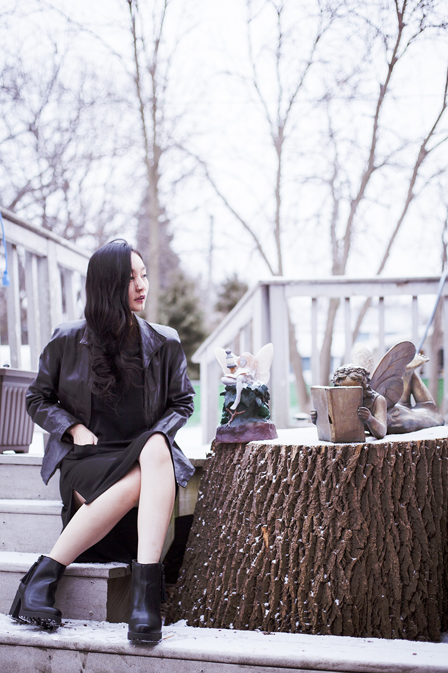Monochrome winter outfit: P.Rossa black leather jacket, Forever 21 black dress, DealSale amethyst necklace, Uniqlo Heattech top, Steve Madden black tassel heel boots.
