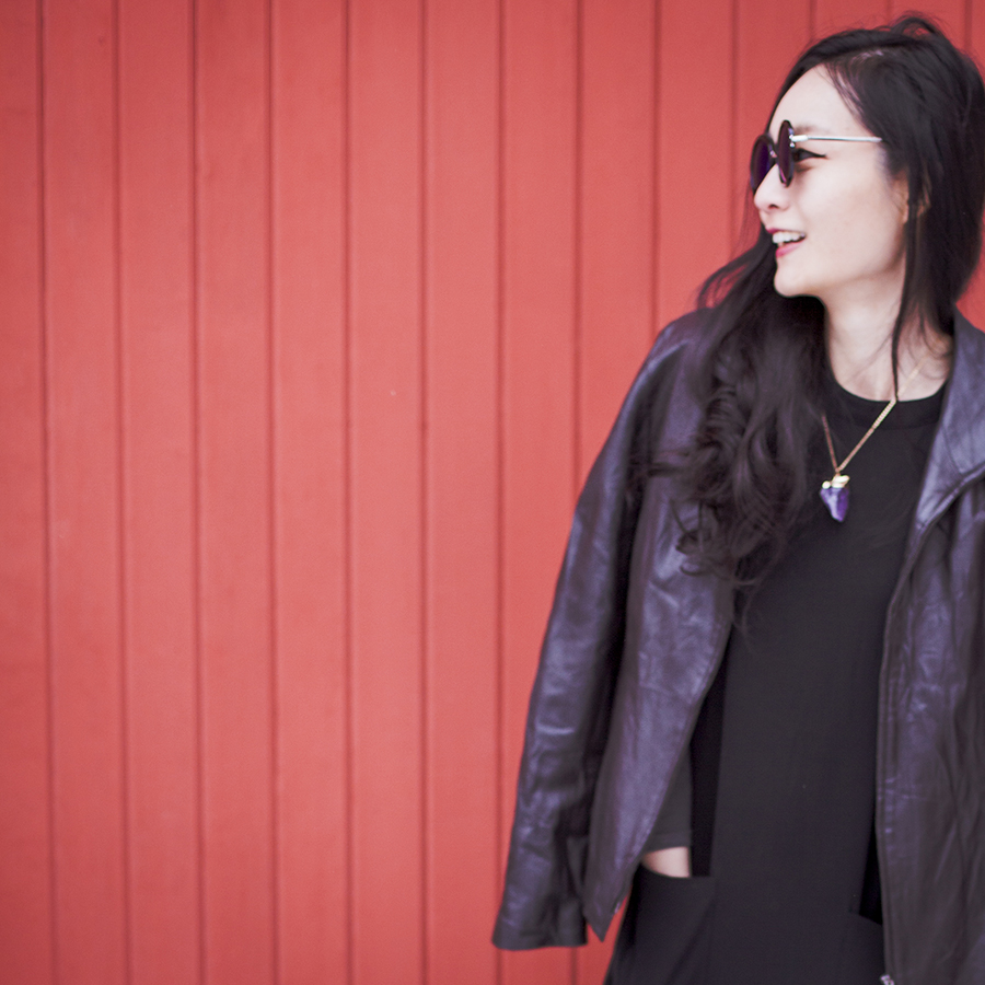 Monochrome winter outfit: P.Rossa black leather jacket, Forever 21 black dress, DealSale amethyst necklace, Uniqlo Heattech top, CNDirect blue sunglasses.