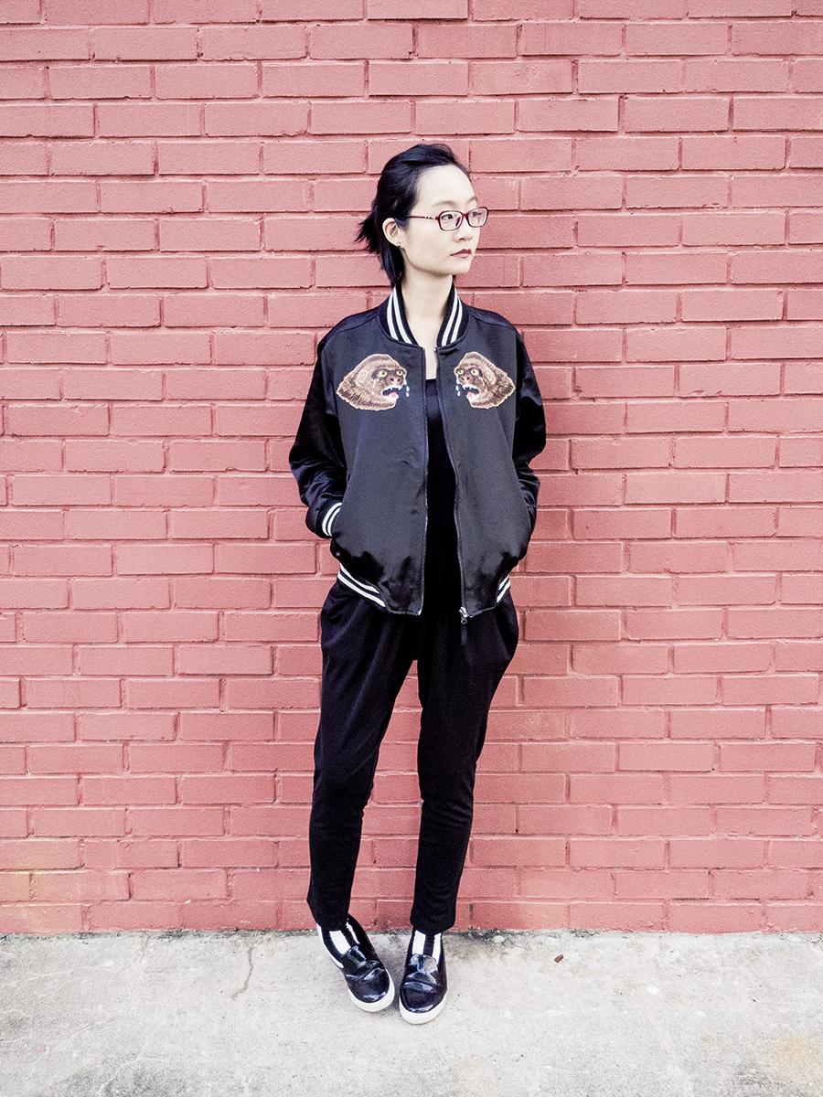Monochrome B&W outfit: Rocket x Lunch reversible bomber jacket, Firmoo red glasses, Uniqlo black bratop, WholesaleBuying harem pants, Sammy Icon b&w striped socks, Zalora slip-on shoes.
