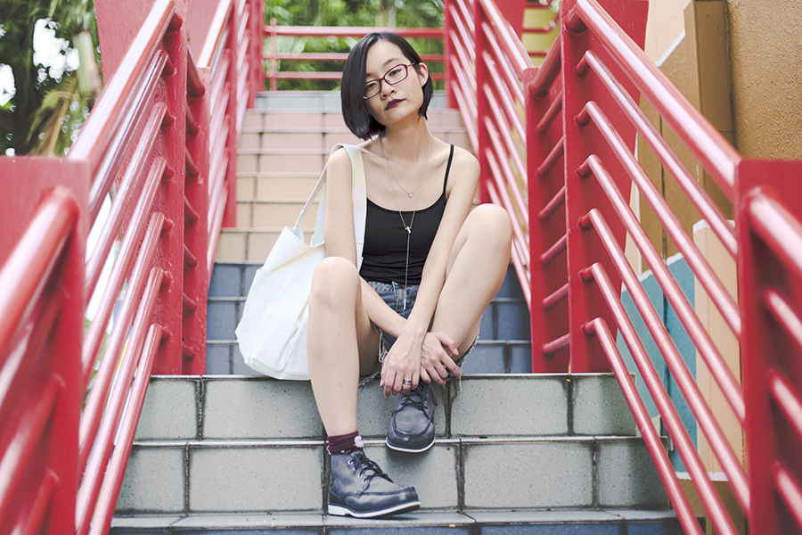 Uniqlo black bratop, CNDirect distressed denim shorts, Taobao socks, Timberland blue boots, Artikel necklace, Firmoo red glasses, Mango shopper bag.