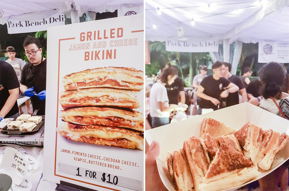 Park Bench Deli Jamon and Cheese sandwiches at ZoukOut 2016 at Siloso Beach, Singapore.