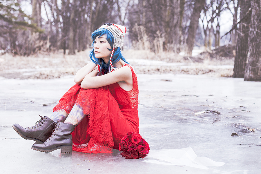 Sock puppet knit hat, Blue wig, Banggood red lace mermaid dress, Urban Outfitters floral lace tights, Steve Madden boots, wedding bouquet of red roses.