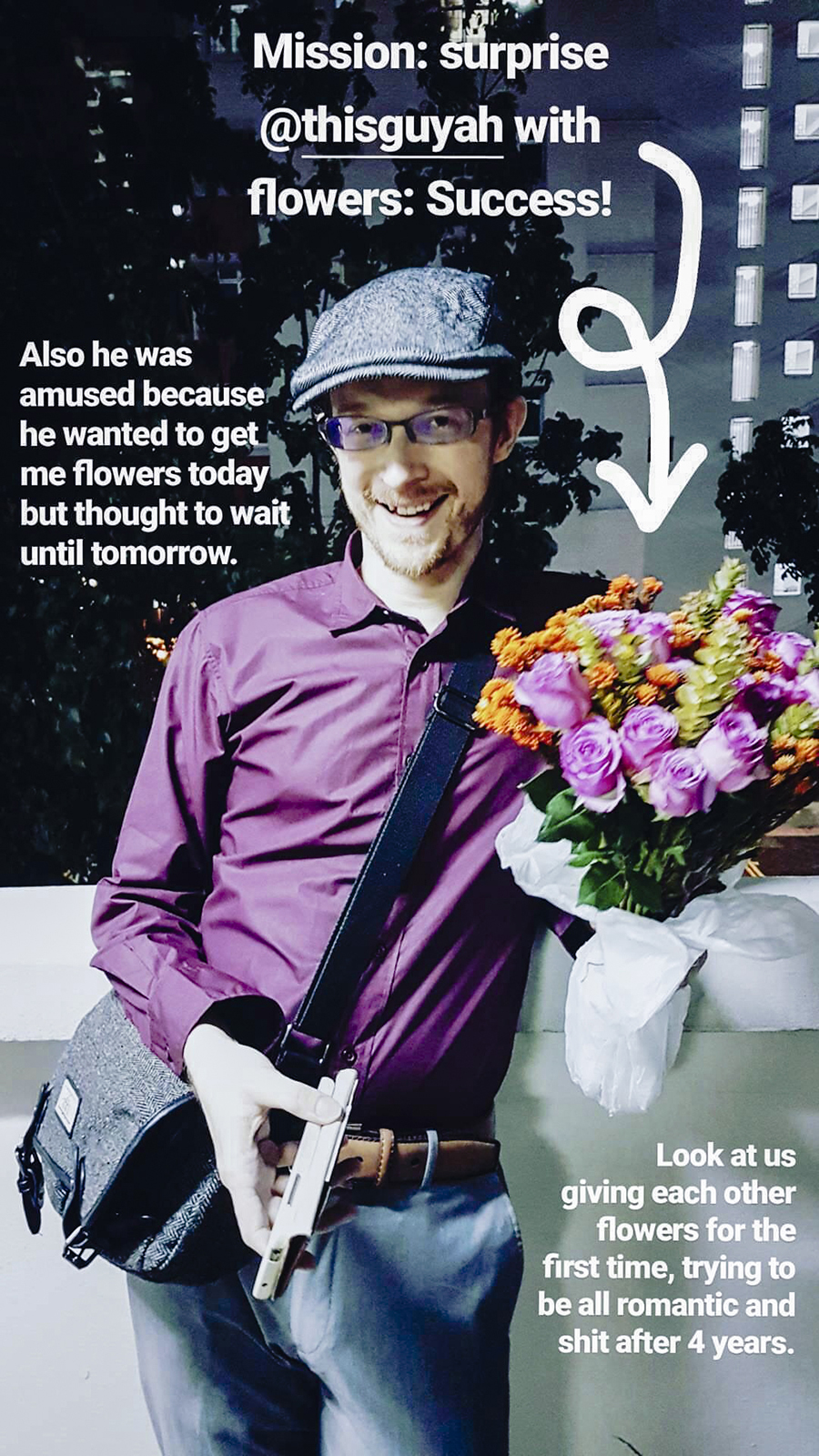 Instagram Story Pupuren of @thisguyah being surprised with a bouquet of colourful flowers.